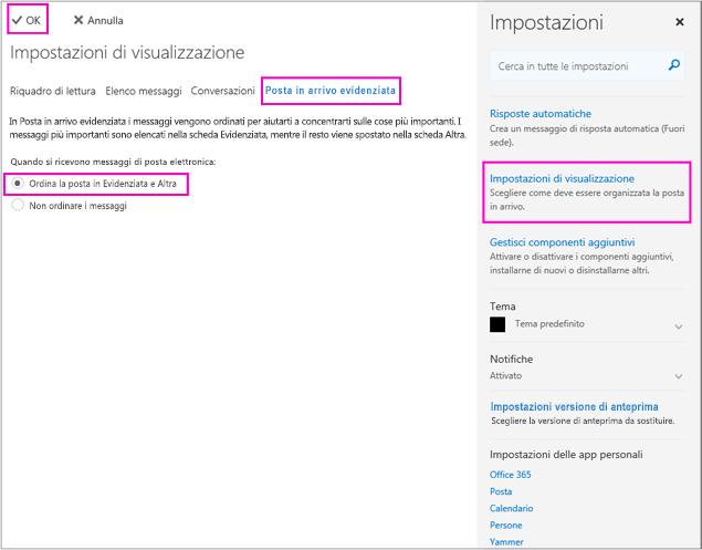 Nella pagina Impostazioni di visualizzazione è possibile attivare o disattivare Posta in arrivo evidenziata