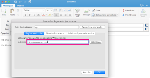 Finestra di dialogo Collegamento ipertestuale in Outlook per Mac