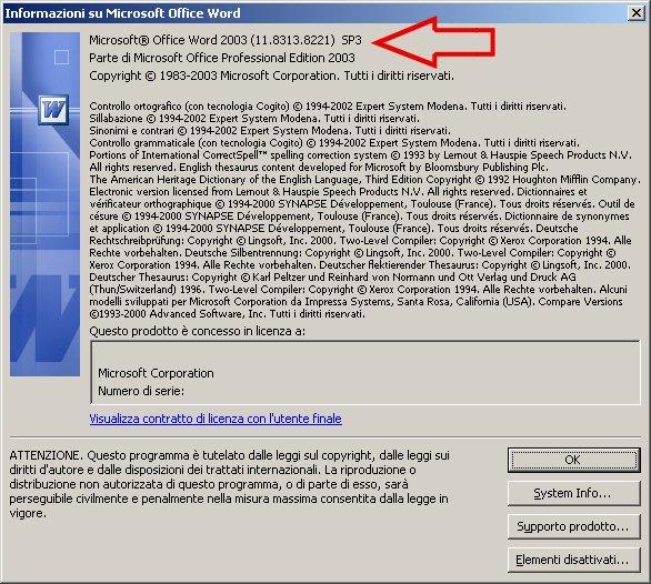 Informazione che indica che si tratta di Word 2003