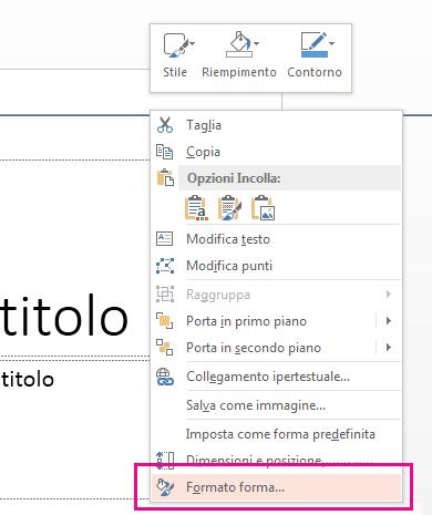 Scegliere Formato forma dal menu di scelta rapida.