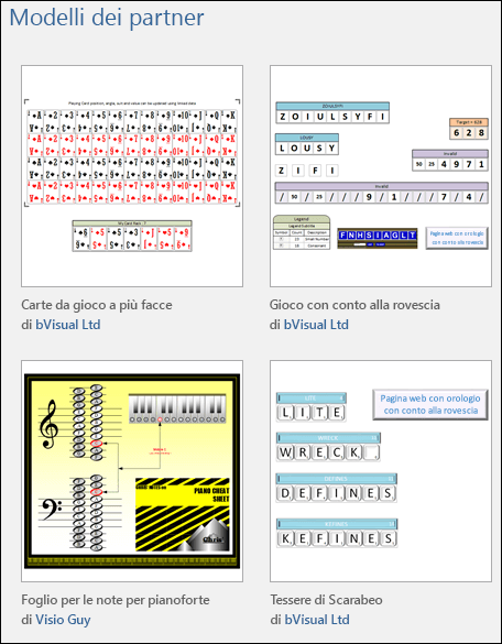 Quattro anteprime di modelli per l'ambito scolastico di Visio di fornitori di terze parti