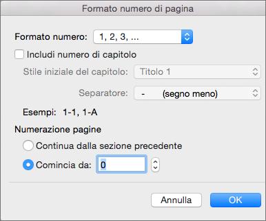Selezionare lo stile di numerazione e il numero iniziale in Formato numero di pagina.