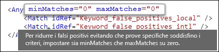 Markup XML che mostra il valore zero dell'attributo maxMatches