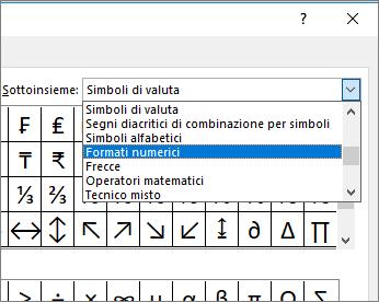 Selezionare Formati numerici nella finestra di dialogo Sottoinsieme per visualizzare frazioni e altri simboli matematici