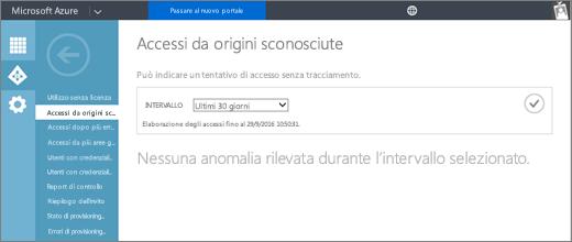 """Lo screenshot mostra la pagina per il report """"Accessi da origini sconosciute"""", disponibile dalla pagina Report della scheda Azure Active Directory nel portale di gestione di Azure."""