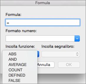 Nella casella Formula selezionare la funzione dall'elenco Incolla funzione