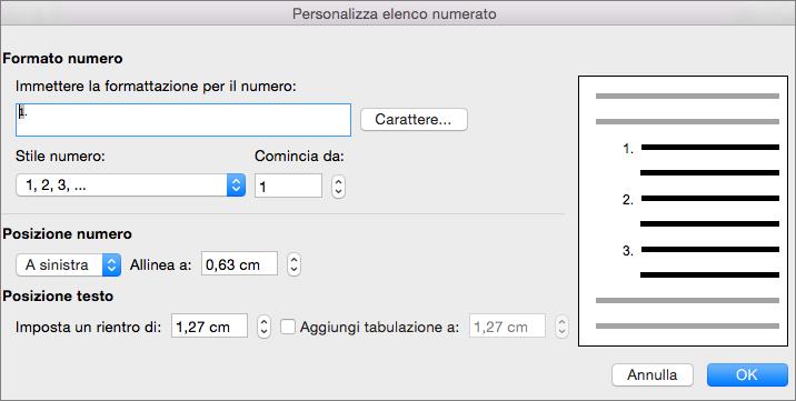 Finestra di dialogo Personalizza elenco numerato