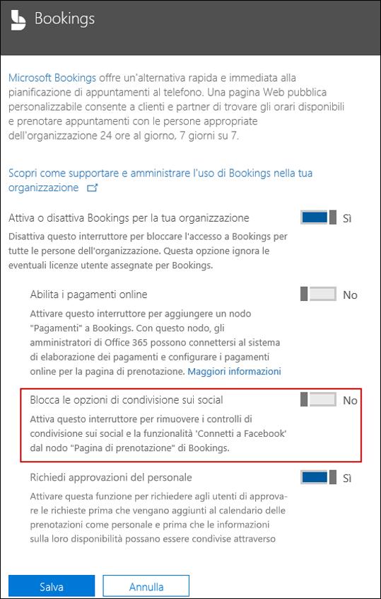 Screenshot: bloccare le opzioni di condivisione sociale nelle prenotazioni