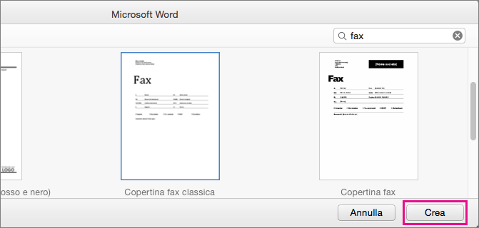 """Per creare un frontespizio del fax, cercare """"fax"""", selezionare un modello e fare clic su Crea."""