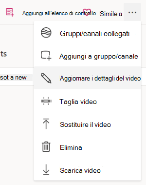 Aggiornare i dettagli del video dal menu Altro