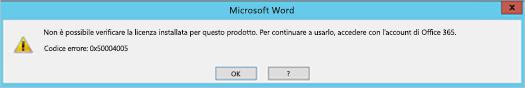 Messaggio che indica che non è possibile verificare la licenza per il prodotto