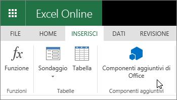 """Screenshot con il gruppo Componenti aggiuntivi della scheda Inserisci in primo piano, con il cursore posizionato su """"Componenti aggiuntivi di Office""""."""