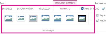 Selezione di Formato e Stili immagini per aggiungere un bordo