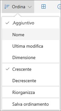 Screenshot del menu Ordina in OneDrive