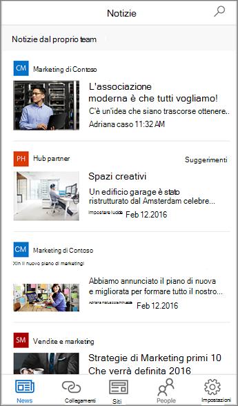 Screenshot Novità del team aggregate