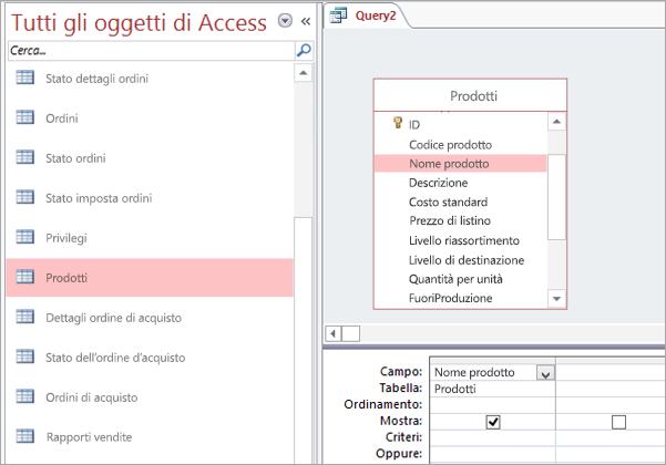 Schermata della visualizzazione Tutti gli oggetti di Access