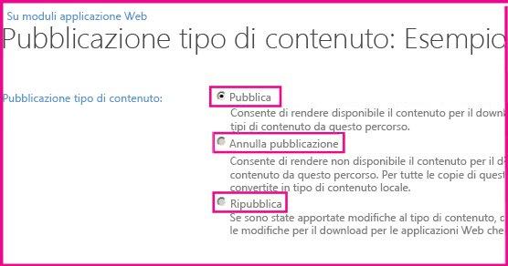 nella pagina pubblicazione tipo di contenuto di un sito hub è possibile pubblicare, ripubblicare e annullare la pubblicazione di un tipo di contenuto.