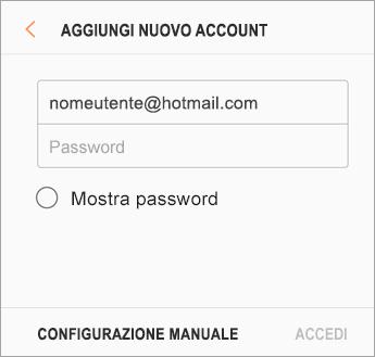Indirizzo di posta elettronica e password