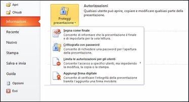 pulsante proteggi presentazione con opzioni
