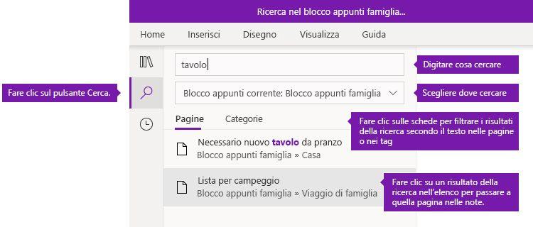 Opzioni del riquadro di ricerca in OneNote per Windows 10