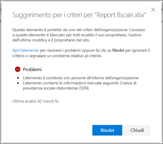 Suggerimenti per i criteri per un documento in un account di OneDrive
