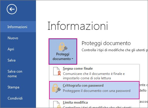 Proteggere il documento con password