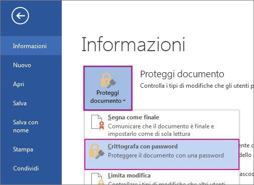 Proteggere il documento con password