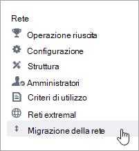 Screenshot della voce di menu Migrazione rete per amministratori di Yammer