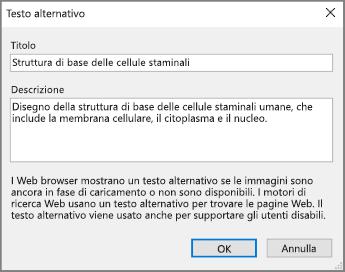 Screenshot della finestra di dialogo Testo alternativo in OneNote con testo di esempio nei campi Titolo e Descrizione.