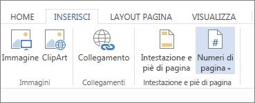 immagine dell'opzione numeri di pagina nella scheda inserisci