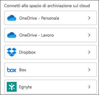 Scegliere il servizio cloud.