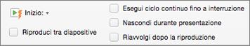 Opzioni audio a destra della scheda Formato audio