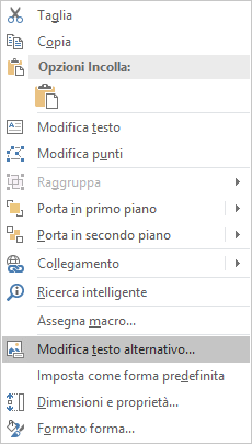 Menu Modifica testo alternativo per le forme in Excel Win32
