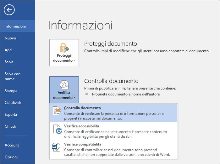 Vengono visualizzate le opzioni in Verifica documento