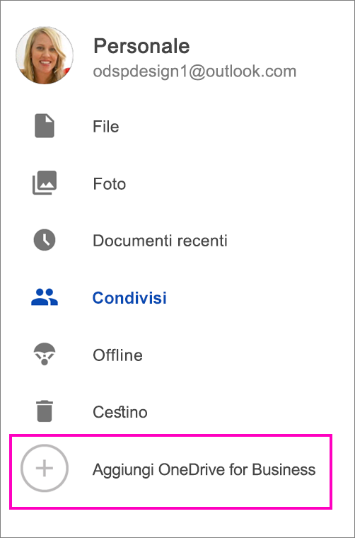 Aggiungere OneDrive for Business.