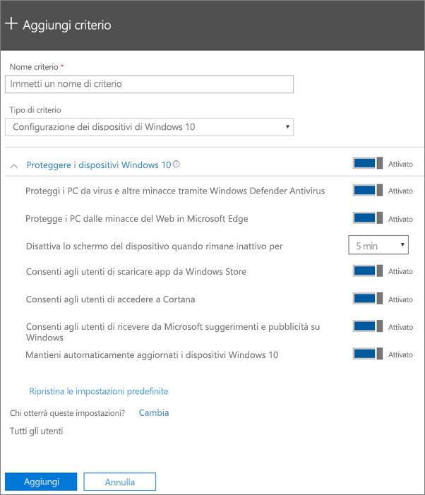 Riquadro Aggiungi criterio con l'opzione Configurazione dei dispositivi di Windows 10 selezionata
