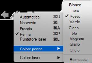È possibile scegliere tra varie opzioni per il colore del puntatore a penna.