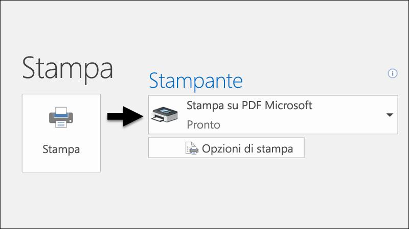 Usare il comando Stampa per stampare un messaggio di posta elettronica su un file PDF.