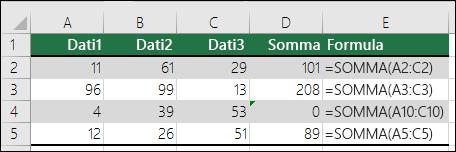 Excel visualizza un errore quando una formula non corrisponde al modello delle formule adiacenti