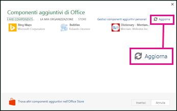 Pulsante Aggiorna per i componenti aggiuntivi di Office
