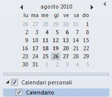 Selezione data nel riquadro di spostamento del Calendario
