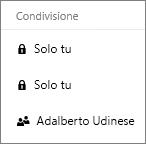 Screenshot della colonna Condivisione in OneDrive che mostra gli elementi condivisi e non condivisi
