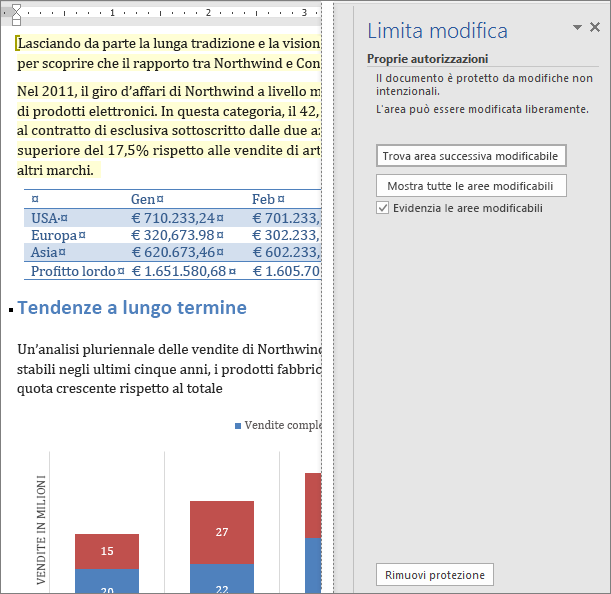 Le opzioni di modifica sono visualizzate nel riquadro Limita modifica.