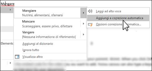 Menu di scelta rapida dell'editor sotto una parola errata con l'opzione Aggiungi a correzione automatica evidenziata