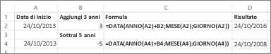 Esempi di aggiunta e sottrazione di date