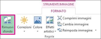 pulsante rimuovi sfondo nel gruppo regola della scheda formato di strumenti immagine