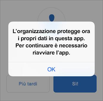 Screenshot che mostra che ora l'organizzazione protegge l'app Outlook