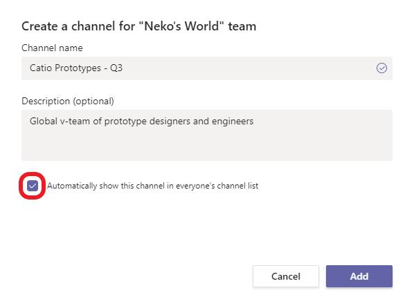 Opzione per canale automaticamente preferito