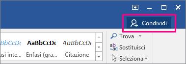 Icona Condividi evidenziata sul lato destro della barra multifunzione