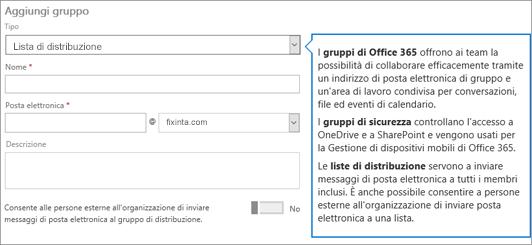 Aggiungere una pagina di gruppo - Selezionare il menu a discesa e scegliere la lista di distribuzione